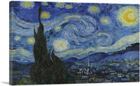 ARTCANVAS The Starry Night - Rectangle 1889 Canvas Art Print by Vincent Van Gogh