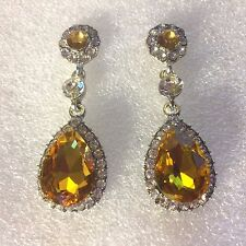 d Large yellow crystal +CZ diamanté pear drop white gold pltd earrings GIFTBOXED