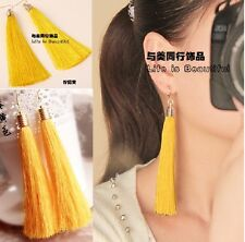 Yellow Cotton Fringe Long Big Fashion Tassel Dangler Drop Earrings Gold Plated