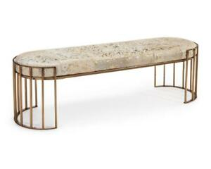 """60"""" L Bench Gold Accented Hair on Hide Hand Stitched Leather Round Metal Base"""