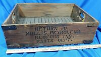 Rare Early Antique Gas Oil Advertising Crate Mullis Petroleum Bedford, Indiana
