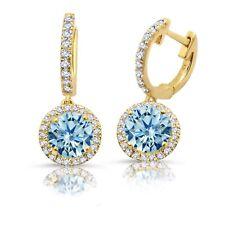 9a4b68a7b1e1 1.81 Quilate Tw. Aguamarina Diamante Halo 10 Oro Amarillo Pendientes Largos
