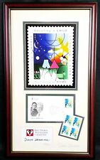Dave Thomas Autographed picture Foundation For Adoption Wendy's 22x13 stamp