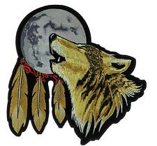 """Howling Wolf Patch Lone Wolf Moon Large Iron on 12"""" x 12"""" FAST USA SHIPPING"""