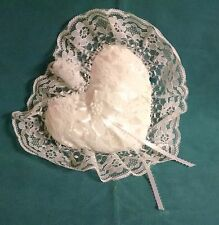 Heart  Shaped, White,  Lace Covered Ring Bearer Pillow