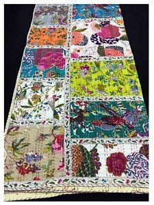 Indian Patchwork Kantha Quilt boho Handmade silk patchwork Blanket Bedding g