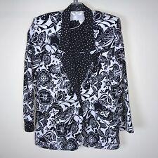 Tanjay Blazer Under Shirt Div of Nygard Size 8 Black White Polka Dot Floral Vtg