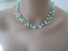 Collier Ivoire/Bleu Turquoise robe de Mariée/Mariage/Soirée perles original