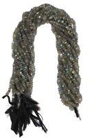 Handmade Labradorite Gemstone 3-4mm Rondelle Faceted Loose Beads 13'' 5 Strand