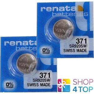 2 RENATA 371 SR920SW BATTERIES SILVER 1.55V WATCH SWISS MADE EXP 2024 NEW