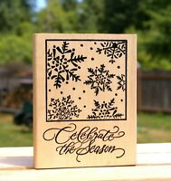"""Celebrate The Season 4 1/2"""" Christmas Wood Mounted Rubber Stamp by Denami Design"""