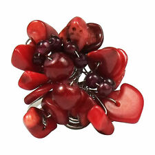 Handmade Red Coral Star Flower Pearl Wrap Free Sz Ring