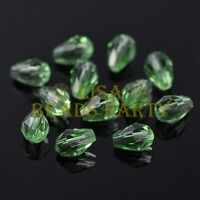 New 50pcs 7X5mm Teardrop Faceted Crystal Glass Spacer Loose Beads Light Green