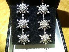 Plata con recubrimiento de Platino Diamante Pendientes