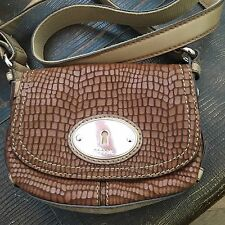Fossil Maddox Rose Gold Leather Saddle Brown Snakeskin Crossbody Bag EUC
