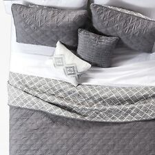 JLA Home Gray 5-Pc Cole Stitched Chambray Quilt Set Pillows - Full/Queen New