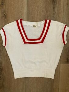 1940s HADSON Creations Red and White Pullover Knit High Waist Top-XXS