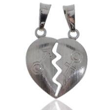 Ciondolo cuore divisibile personalizzabile mm 21x18 in argento 925 satinato