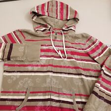 LUCKY BRAND Hoodie Women's Size Large Full Zip Brown Pink Floral Striped