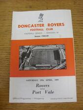 19/04/1969 Doncaster Rovers v Port Vale  (team changes). Item in very good condi