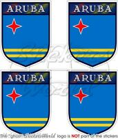 "ARUBA  Aruban Caribbean Shield  50mm(2"") Vinyl Bumper-Helmet Sticker-Decal x4"