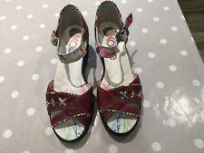 Dkode Ladies Ankle Strap wedge heel sandals dark pink with multicoloured strap s