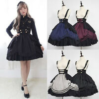 Medieval Lolita Girl Women Ruffle Tiered Dress Braces Skirt Cosplay Costume