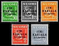 "FINLAND MNH 1941 East Karelia Black Overprint ""Sharp A"" Plate Error Scott N1-5"