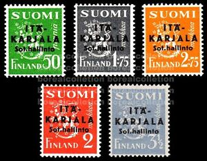 "FINLAND MNH 1941 East Karelia Black Overprint ""Sharp A"" Plate Error Scott N1-5"