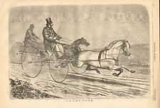 Horses, Horse & Wagon, Buggy, On The Road & On The Beach, 2pg 1858 Antique Print