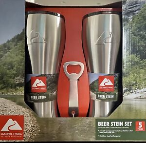 NEW Ozark Trail 20 oz Stainless Steel Beer Stein Set, 5 Pieces - NEW
