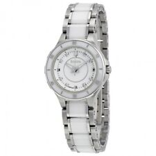BULOVA WHITE DIAL 8 DIAMONDS WHITE CERAMIC ST.STEEL LADIES WATCH 98P124 NEW
