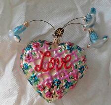 Christopher Radko Heart 3 Blue Birds Love Ornament