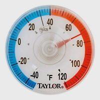 """Taylor 3-1/2"""" Outdoor Dial Thermometer Suction Cup Clear Temperature New 5321N"""