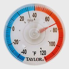 New! Taylor 3-1/2 in. Outdoor Dial Thermometer Suction Cup Clear/Red/Blue 5321N