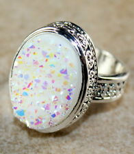 SILVER Vintage Style White Rainbow Titanium Druzy 15x20mm Ring Size 7