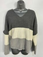 WOMENS NEW LOOK LARGE GREY MIX STRIPED TWIST KNOT BACK KNITTED SLOUCH JUMPER TOP