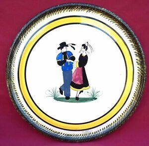 QUIMPER HENRIOT Couple Dancers Cake Dish Hand Painted Faience Vintage