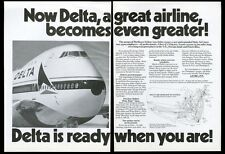 1972 Delta Airlines Boeing 747 plane photo vintage print ad