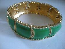 (*_*) Vintage Monet Enamel Green Gold Tone  Bracelet