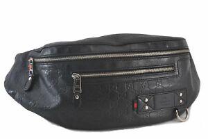 Authentic GUCCI Guccissima Web Sherry Line Bum Body Bag GG Leather Black C3251