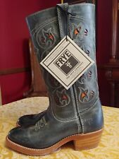 FRYE Women's Smokey Charcoal/Gray Leather Austin Cowgirl Boots Size 6B