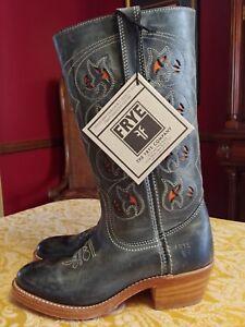 FRYE Women's Smokey Charcoal/Gray Leather Austin Cowgirl Boots Size 6B