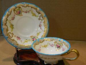 Cauldon England Cup & Saucer White w/ Floral Sprays Gold  Accents & Trim Antique