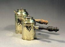 Pair Of Small 18th Century Brass Chocolate Pot