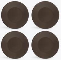 4X Round starter dinner plates chocolate 25cm stoneware porcelain