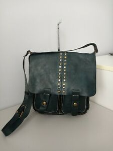 Patricia nash ARMENO green leather crossbody messenger bag