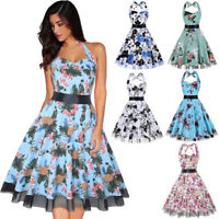 1950s Womens Vintage Rockabilly Floral Swing Evening Party Cocktail Summer Dress