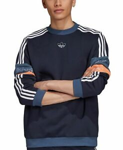 Adidas Mens Sweater Blue Size Medium M 3-Stripe Colorblock Pullover $70 #026