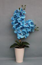 HANDMADE ARTIFICIAL SILK BLUE PHALAENOPSIS ORCHID IN WHITE CERAMIC PLANT POT